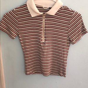 Cute zipper up shirt with stripes